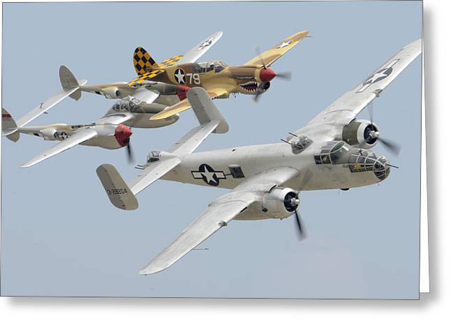 North American B-25j Mitchell Curtiss P-40n Warhawk Lockheed P-38l Lightning March 14 2011 Greeting Card by Brian Lockett