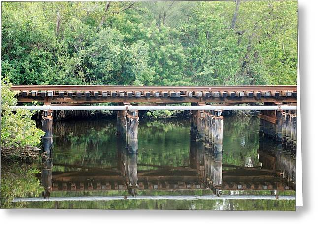 North Fork River Bridge Greeting Card by Rob Hans
