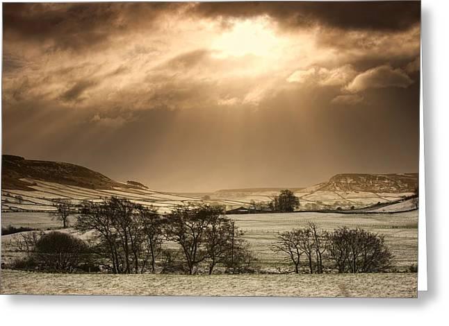 North Yorkshire, England Sun Shining Greeting Card by John Short