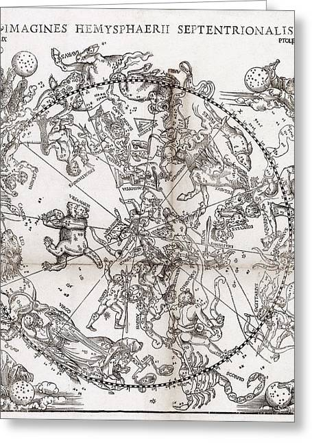 Northern Hemisphere Star Chart, 1537 Greeting Card by Middle Temple Library