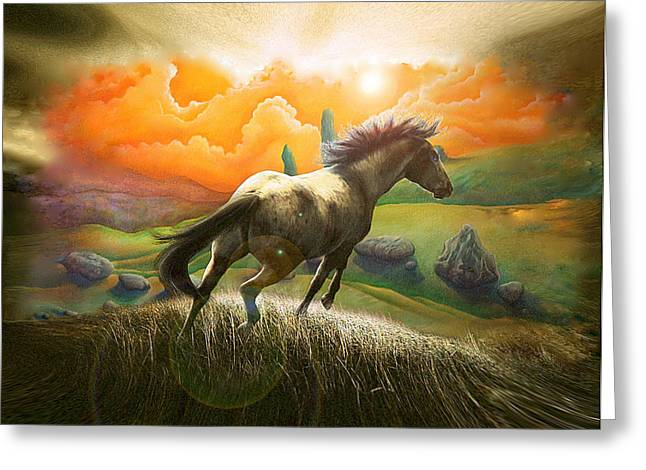 Northern Hills Horse 2 Greeting Card by Zoran Peshich