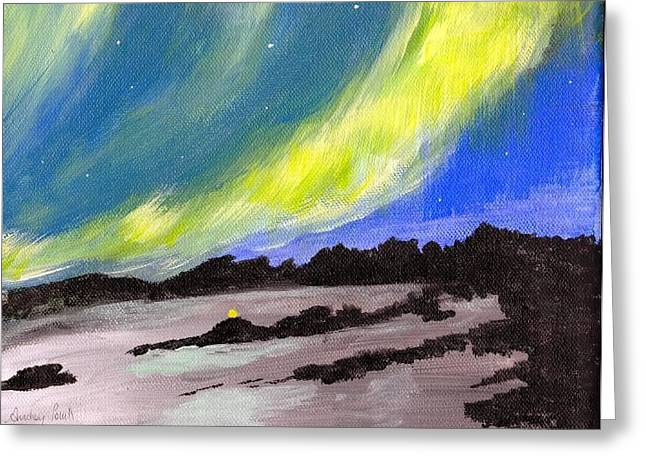 Greeting Card featuring the painting Northern Lights 1 by Audrey Pollitt