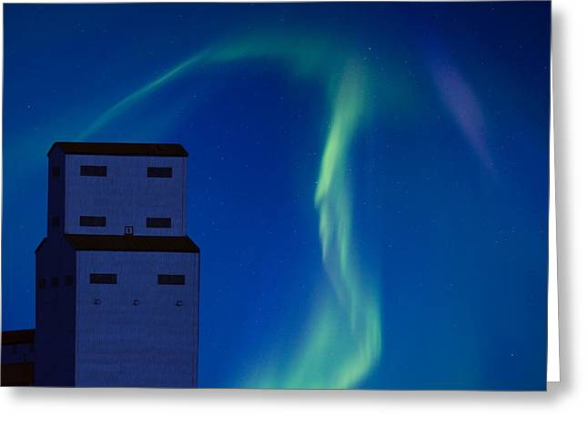 Northern Lights And Grain Elevator Greeting Card by Mark Duffy