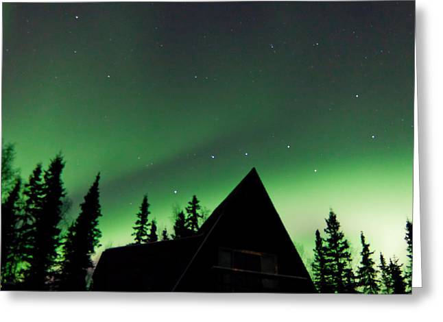 Northern Lights Liven Under The Dipper Greeting Card by John Aldabe