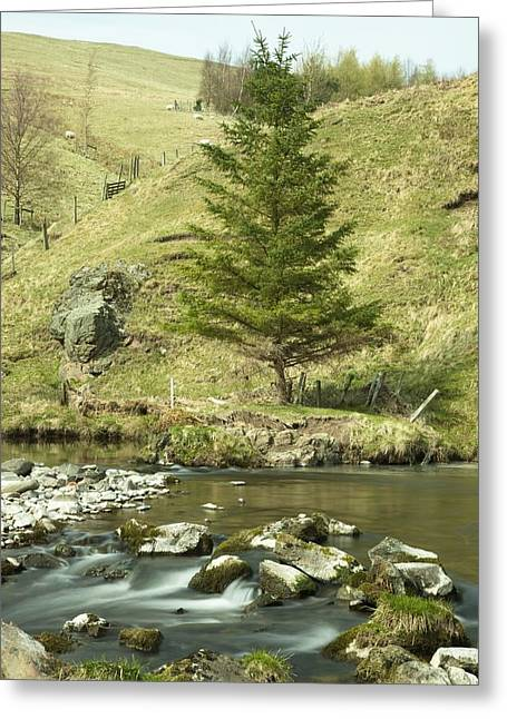 Northumberland, England A River Flowing Greeting Card by John Short