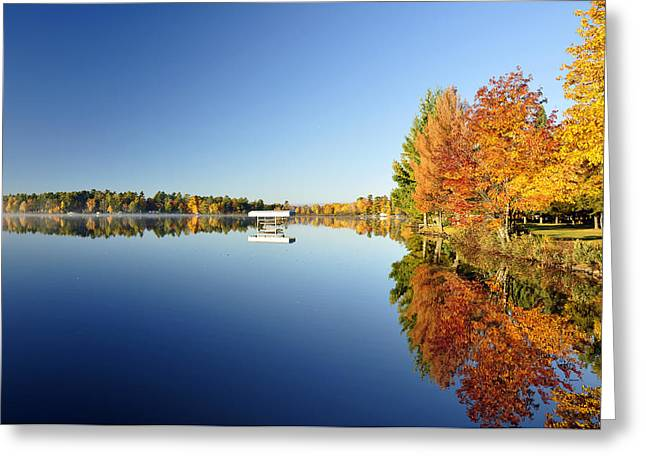 Northwoods Fall Reflection Greeting Card by RJ Martens
