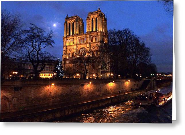 Notre Dame By Full Moon Greeting Card