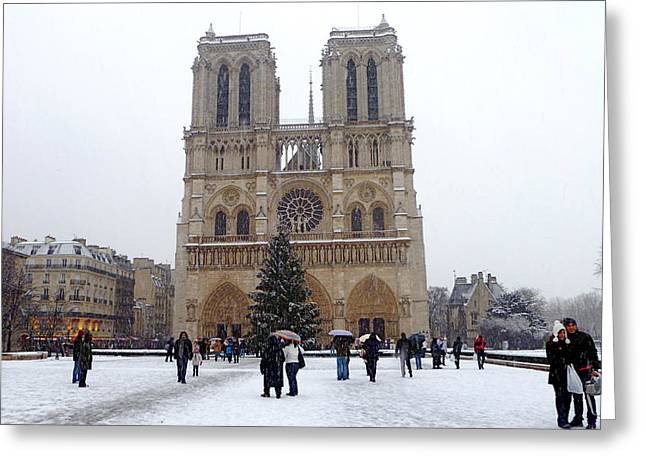 Notre Dame Christmas Paris Greeting Card by Amelia Racca