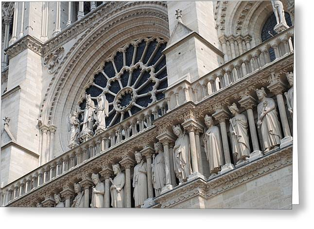 Notre Dame Details Greeting Card by Jennifer Ancker