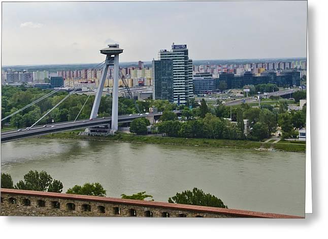 Novy Most Bridge - Bratislava Greeting Card by Jon Berghoff