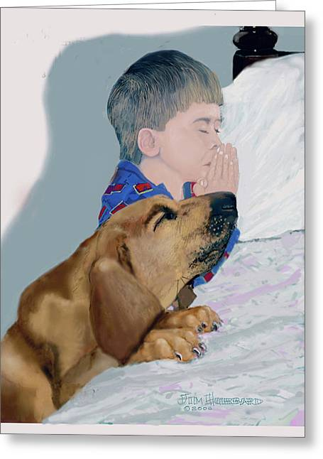 Greeting Card featuring the drawing Now I Lay Us Down To Sleep by Jim Hubbard