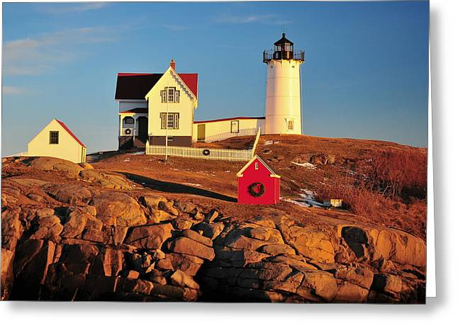 Nubble Light Sunset Greeting Card by Catherine Reusch Daley