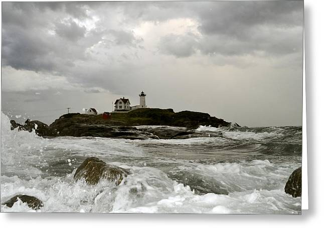 Greeting Card featuring the photograph Nubble Lighthouse In The Thick by Rick Frost
