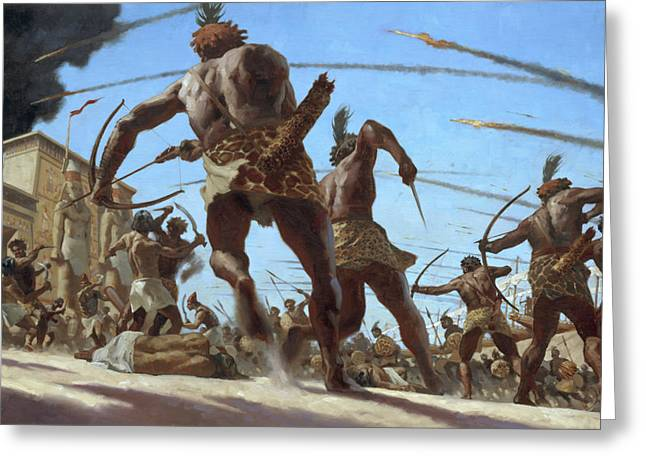 Nubian Troops Storm The Walled Capital Greeting Card by Gregory Manchess