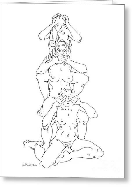 Greeting Card featuring the drawing Nude Female Drawings 5 by Gordon Punt