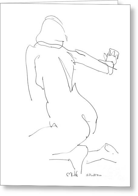 Greeting Card featuring the drawing Nude Female Drawings 8 by Gordon Punt