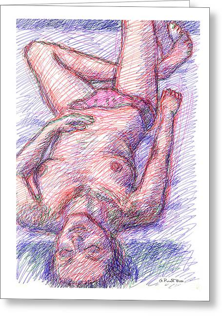 Greeting Card featuring the drawing Nude Female Sketches 6a by Gordon Punt