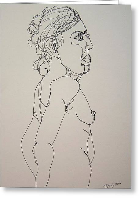 Nude Girl In Contour Greeting Card by Rand Swift