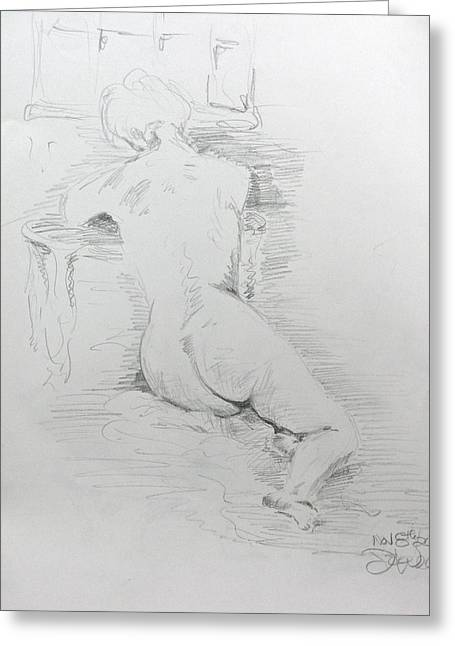 Nude In Front Of Table And Window Greeting Card by Brian Sereda