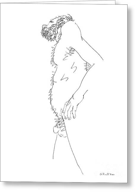 Greeting Card featuring the drawing Nude Male Drawings 6 by Gordon Punt
