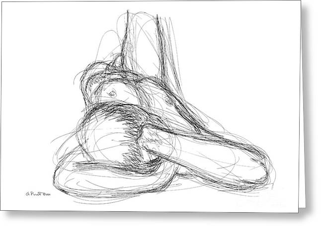 Greeting Card featuring the drawing Nude Male Sketches 3 by Gordon Punt