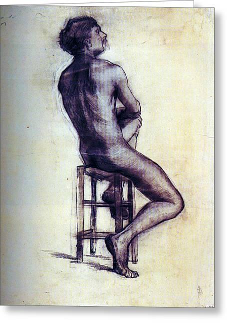 Nude Man Sketch Greeting Card by Sumit Mehndiratta