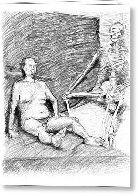 Nude Man With Skeleton Greeting Card by Adam Long