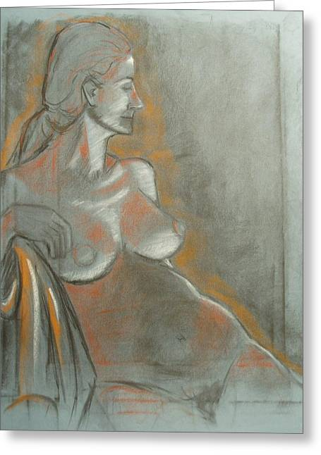 Nude Model  Greeting Card by Aveda Allen