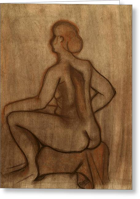 Nude Model Drawing Greeting Card by Teri Schuster