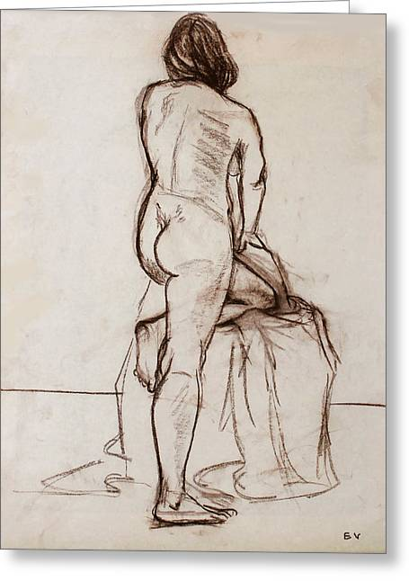 Nude Model Greeting Card by Ethel Vrana