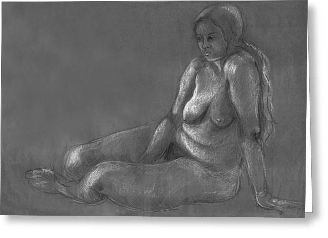 Nude Of A Real Woman In Black Greeting Card