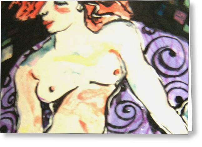 Nude Redhead Greeting Card by Patricia Lazar