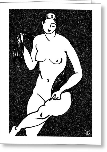 Nude Sketch 12 Greeting Card by Leonid Petrushin