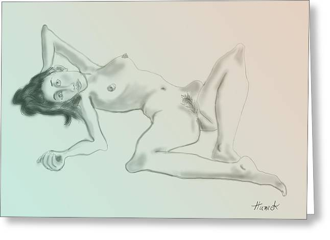 Nude Sketch 2 Greeting Card by John Huneck