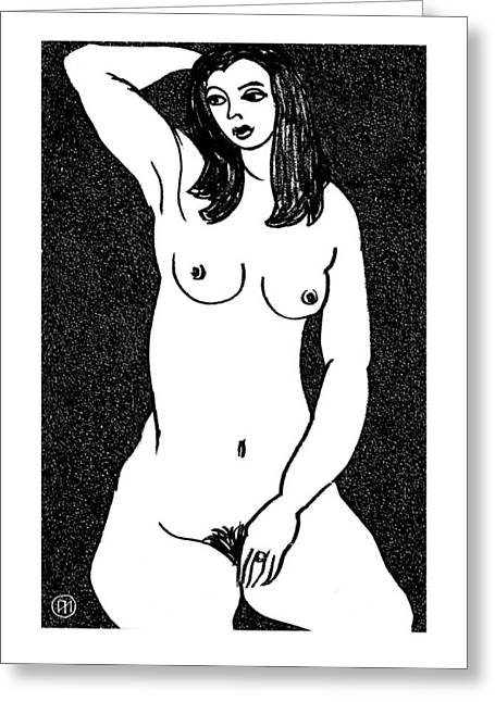Nude Sketch 21 Greeting Card by Leonid Petrushin
