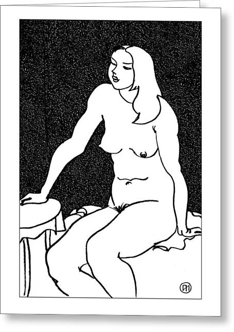 Nude Sketch 34 Greeting Card by Leonid Petrushin