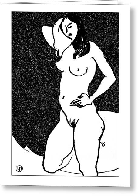 Nude Sketch 47 Greeting Card by Leonid Petrushin