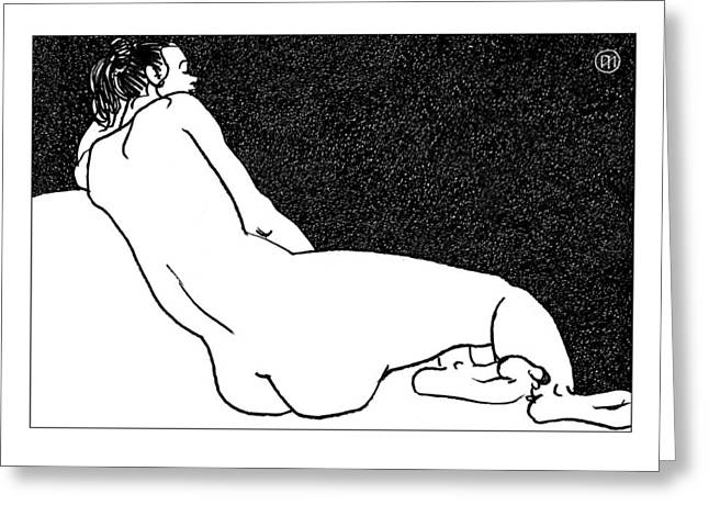 Nude Sketch 49 Greeting Card by Leonid Petrushin