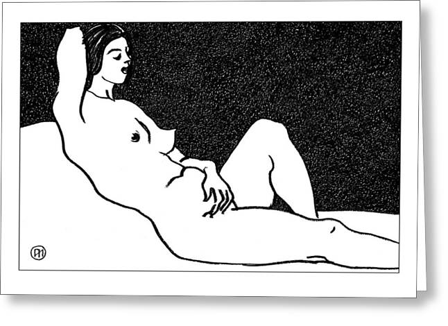 Nude Sketch 61 Greeting Card by Leonid Petrushin
