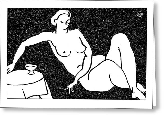 Nude Sketch 62 Greeting Card by Leonid Petrushin