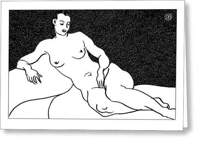 Nude Sketch 63 Greeting Card by Leonid Petrushin