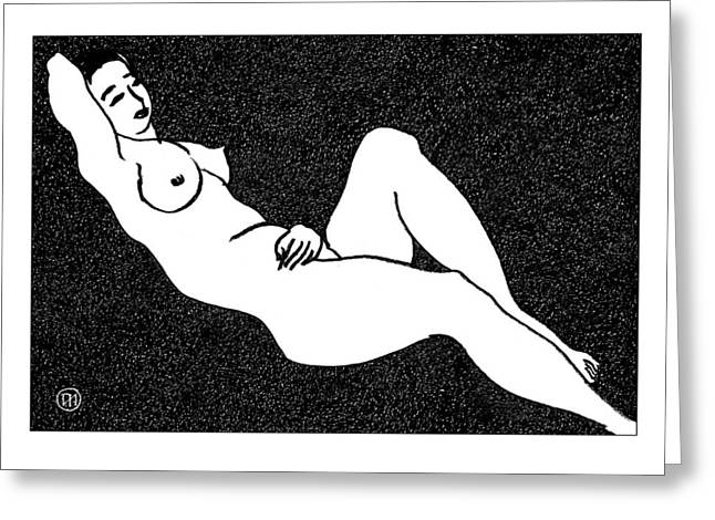 Nude Sketch 66 Greeting Card by Leonid Petrushin