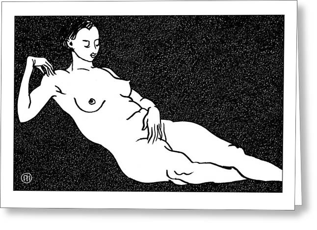 Nude Sketch 68 Greeting Card by Leonid Petrushin