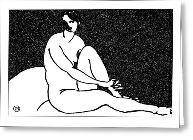 Nude Sketch 69 Greeting Card by Leonid Petrushin