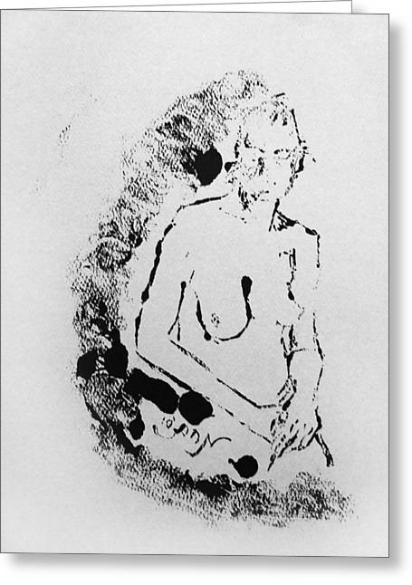 Greeting Card featuring the painting Nude Young Female That Is Mysterious In A Whispy Atmospheric Hand Wringing Pose Highly Contemplative by M Zimmerman