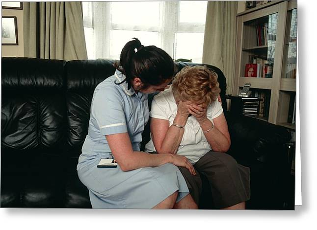Nurse Comforting Upset Woman Greeting Card by