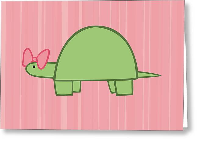 Nursery Art Girls Turtle Greeting Card by Christy Beckwith