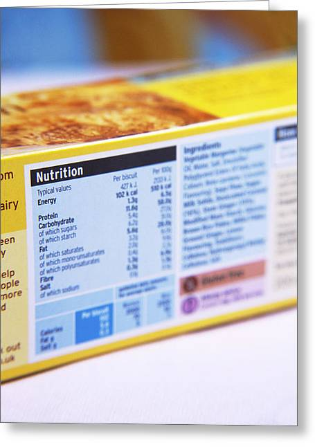 Nutrition Label Greeting Card by Veronique Leplat