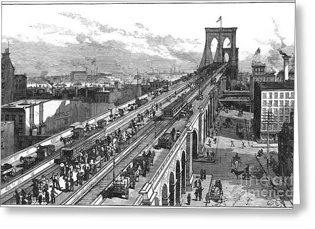 Ny: Brooklyn Bridge, 1883 Greeting Card by Granger