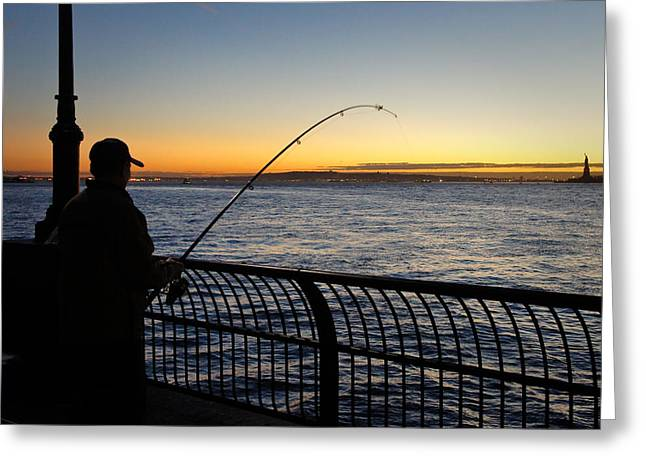 Ny Harbor Sunset Greeting Card by Lynn Wohlers